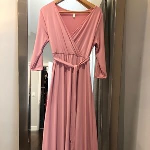 Pink blush maternity dress